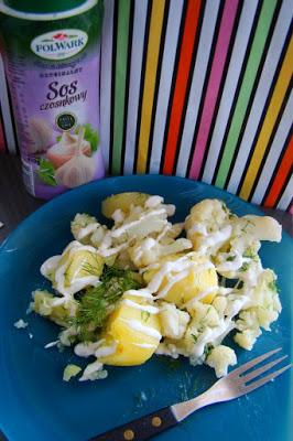 Dietetyczne ziemniaczki z kalafiorem i koperkiem w asyście sosu Folwark