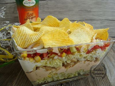 Gyros salad with chips flavored with grilled vegetables