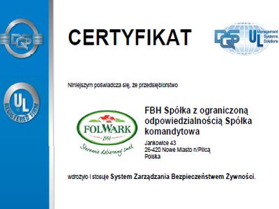 Certyfikat ISO 22000:2005