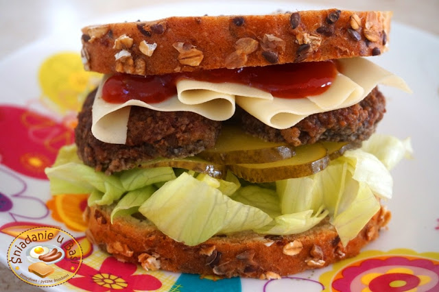 Sandwich with minced meat cutlet