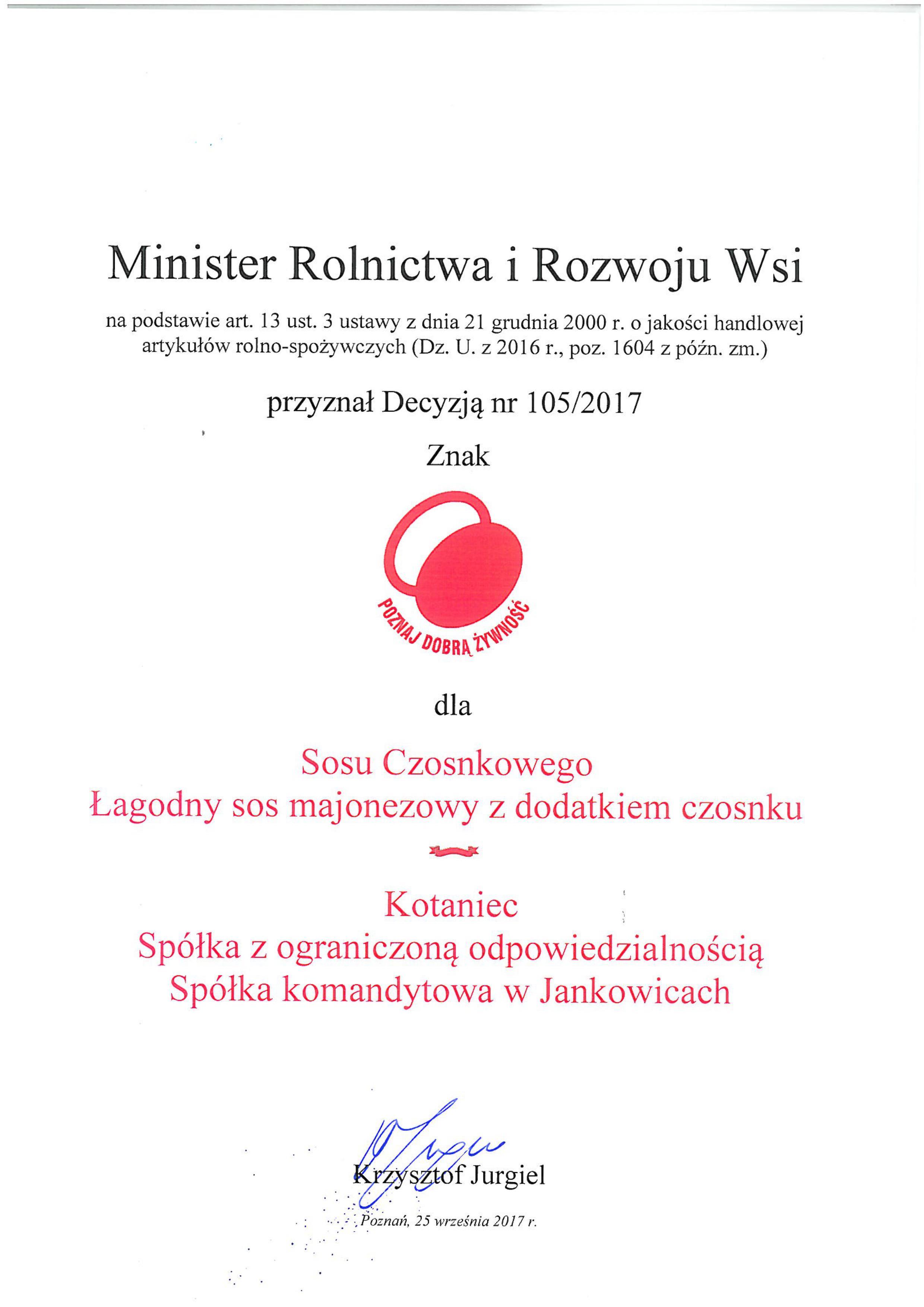 (Polski) Znak Poznaj Dobrą Żywność dla sosu czosnkowego Folwark